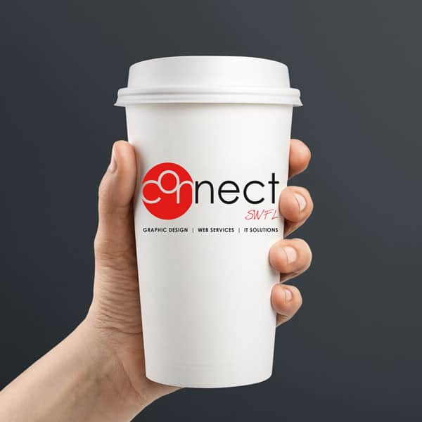 White coffee cup displaying the Connect SWFL logo.