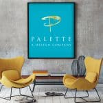 Chairs and table sitting in front of a sign displaying Palette a design company logo.